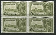 Newfoundland 1935 24 cents Silver Wedding unmounted mint NH block of 4