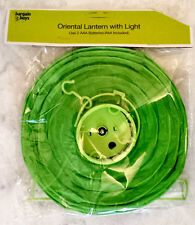 Green Round Hanging Oriental Paper Lantern With LED Light