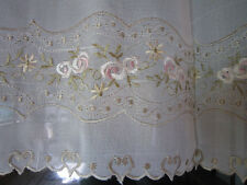 Beautiful Embroidery Ivory Sheer Cafe/Kitchen Curtain