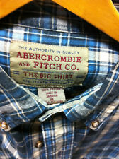 Abercrombie Fitch Outfitters Plaid Black Blue Button down Shirt XL