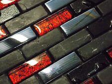 Glas Naturstein Effekt Mosaik Fliesen Schwarz Rot Metall Mix Sticks klarglas top