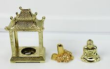 Lot of 3 Vintage Metal Incense Burners Asian Pagoda Flowers Trunk & Buddha Gold