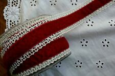 Vintage Crochet Lace IVORY with BURGUNDY Velvet Centre 37mmWide 1 Metre May Arts