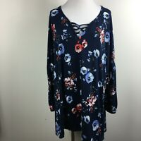 Falls Creek 3X Knit Top Blue Red Floral Pullover Long Bell Sleeve Lace Up Neck