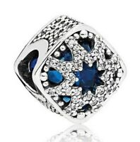 925 Sterling Silver Glacial Beauty Charm Swiss Blue Crystals & CZ For Bracelet