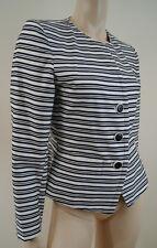 YVES SAINT LAURENT Variation Navy & White Striped Long Sleeve Blazer Jacket UK10
