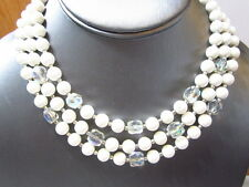VINTAGE WHITE BEADED LUCITE CRYSTAL AB BEADS ACCENT NECKLACE TRIPLE STRAND JAPAN