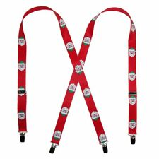 """Suspenders 48"""" x 3/4"""" Red Novelty Santa Clause Print Holiday Suspenders"""