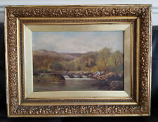 Antique Victorian Oil On Canvas Painting In Gold Gilt Frame by Percy Norman