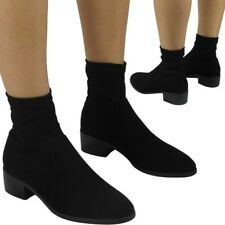 Sale New Womens Ladies Plain Low Heel Ankle Casual Work Pull On Boots Shoes Size