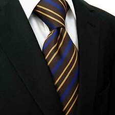 Blue Dark Brown Golden Yellow Stripe Designer 100% Silk Jacquard Woven Tie