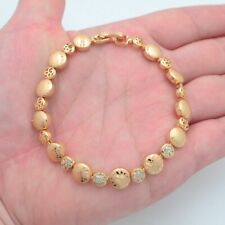 18K Yellow Gold Filled Women Clear Mystic Topaz Round Plate Link Bracelet