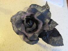 """Millinery Flower Rose Steel Grey Gray Velvet Organza 4 1/2"""" w/velvet leaves  G92"""