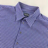 Giorgio Armani Black Label Mens Button Dress Shirt Blue Check • Italy • 43 | 17