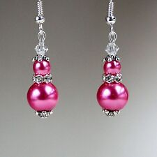 Hot pink pearls crystals vintage silver drop earrings wedding bridesmaid gift