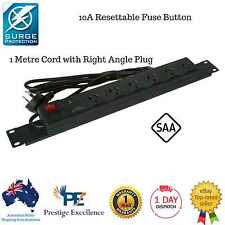 "Rack Mount Power Board Surge Protector 19"" 1 RU Rail 6 Way 10a With R/a Plug"