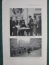 1916 WWI WW1 PRINT RECRUITS GIVING UP ARMLETS CALLED TO COLOURS ~ NATIONAL GUARD