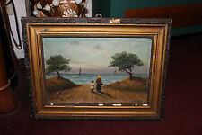 Antique Nautical Ocean Oil Painting-Fine Art-Mother & Child-Trees-Boats-Lifelike