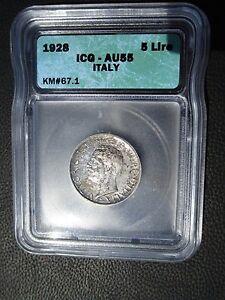 1928 Italy 5 Lire, ICG AU 55