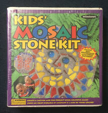 Kids Mosaic Stepping Stone Kit With Real Stained Glass & 4 Great Patterns!!