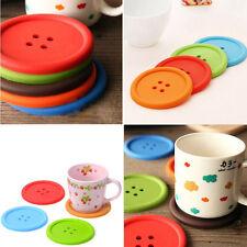 5Pcs Cute Button Coasters Silicone Placemat Cushion Mug Holder Tea Cup Pad Mat