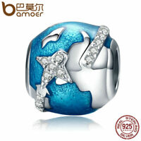 Bamoer .925 Sterling Silver charm With Clear cz Travel around the world Jewelry
