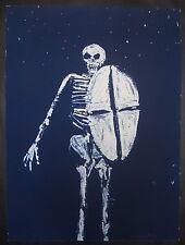 """Fritz Scholder """"Skeleton with Shield, 1990-91,"""" Cyanotype Cliche-verre print"""