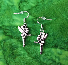 SILVER TINKERBELL FAIRY PRINCESS PETER PAN EARRINGS~STERLING HOOKS~GIFT FOR HER