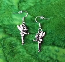 SILVER TINKERBELL FAIRY PRINCESS PETER PAN EARRINGS~STERLING HOOKS~GIFT FOR HER