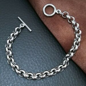 Hip hop Chain Stainless Steel 316L Bracelet Silver tone men womens B265 7mm 0102