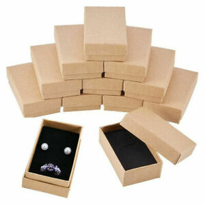 24PCS Cardboard Jewelry Box Rectangle Kraft Brown Necklace Ring Gift Boxes