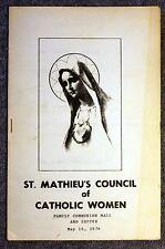 1976 ST MATHIEU'S COUNCIL OF CATHOLIC WOMEN Church COMMUNION MASS Program SUPPER