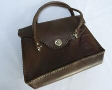 Vintage 1930's Two Handled Purse Handbag - Brown Leather with Stitched Detail
