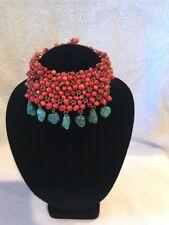 Viviane Guenoun Designer Choker Necklace Turquoise Dangles (d4-14)