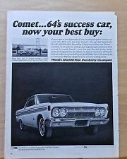 "1964 magazine ad for Mercury - Comet, ""64 Success Car, Durability Champ"