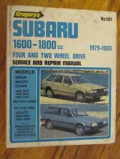 GREGORYS SUBARU 1600-1800cc SERVICE REPAIR MANUAL 4 & 2WD 1979-88