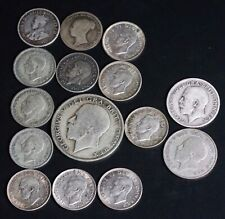 Lot of 15 British Foreign Silver Ag Coins
