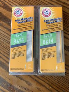 2 Bissell 8/14 Vacuum filters Arm & Hammer Odor Eliminating  NEW Open Box