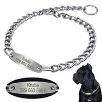 Heavy Duty Dog Choke Chain Collar& Tag Engraved for Large Breeds Pitbull Boxer