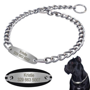 Personalized Dog Choke Chain Collar with Engraved ID Tag for Medium Large Dogs