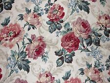 Mill Creek Floral PETAL Teal Rose Drapery Cotton Jacquard Sewing Fabric BTY