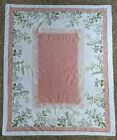 Vintage+MCM+Tablecloth+Salmon+Pink+and+White+w%2FFlowers+50%22+x+61%22