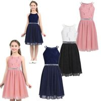 Kids Girls Sequined Floral Lace Dress Birthday Party Pleated Skater Casual Dress