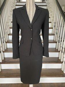 TAHARI Women's Petites Black Suit W Pink Pinstripe 2 Pc Skirt Career Sz 8P