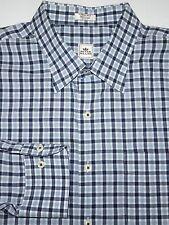 PETER MILLAR BUTTON SHIRT -XL-  NAVY LIGHT BLUE WHITE PLAID -GOLF -DRESS- EUC