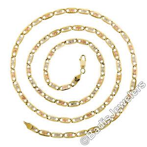 "Fancy 14K Tri Color Gold 24.5"" Diamond Cut Flat Open Link Chain Necklace 14.56g"
