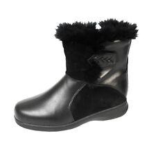 FIC PEERAGE Bryn Women Wide Width Side Zipper Fleece Lined and Furry Ankle Boots