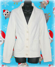 L.L. BEAN WOMEN'S M CREAM BUTTON UP CARDIGAN LONG SLEEVES POCKETS SO SOFT!