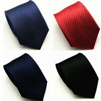 Mens Classic Skinny Solid Tie Plain Silk Jacquard Woven Necktie Business Party