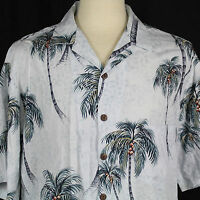 Hilo Hattie Hawaiian Camp Aloha Shirt 100% Rayon Palm Tree Men Sz Large L EUC